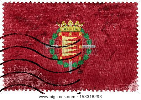 Flag Of Valladolid, Spain, Old Postage Stamp