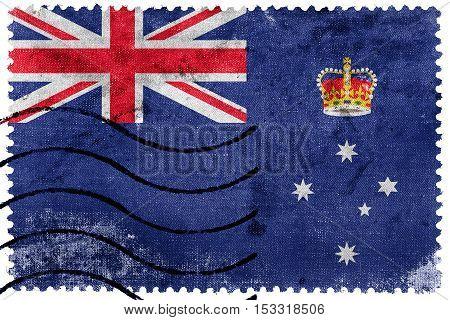 Flag Of Victoria State, Australia, Old Postage Stamp