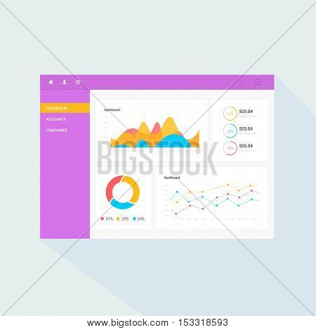 Infographic dashboard template with flat design graphs and charts. Processing and analysis of data