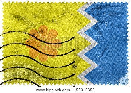 Flag Of Vina Del Mar, Chile, Old Postage Stamp