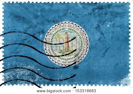 Flag Of Virginia Beach, Virginia, Usa, Old Postage Stamp
