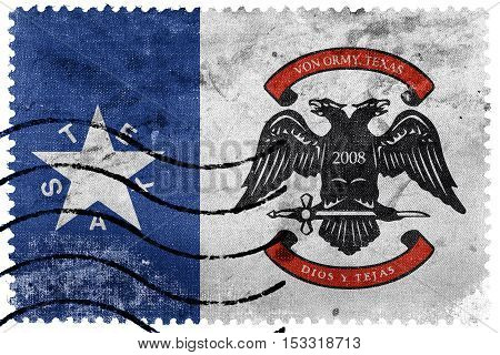 Flag Of Von Ormy, Texas, Usa, Old Postage Stamp
