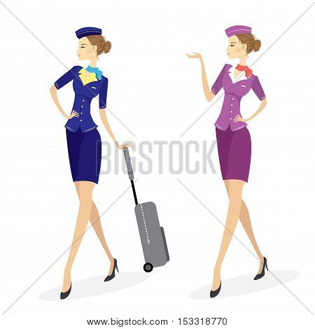 Two Young beautiful hostess in blue with baggageisolated on white stock vector illustration