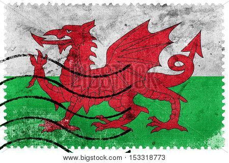 Flag Of Wales, Uk, Old Postage Stamp
