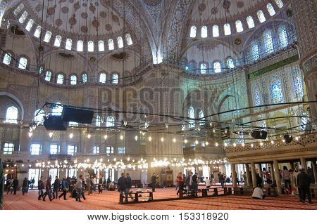 Interior Of The Blue Mosque, Istanbul, Turkey.