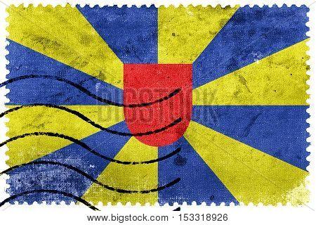 Flag Of West Flanders Province, Belgium, Old Postage Stamp