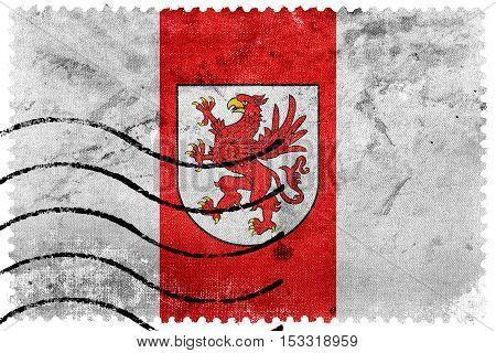 Flag Of West Pomeranian Voivodeship, Poland, Old Postage Stamp