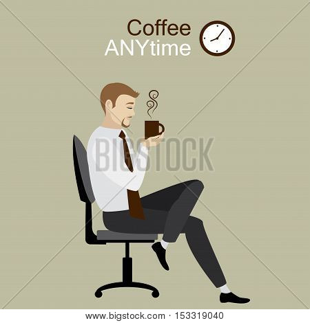 Businessman or office worker sitting on chair with a mug in his hands coffee break stock vector illustration