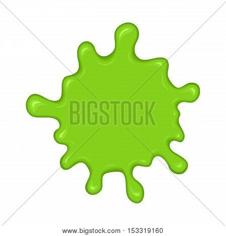 Green slime splash blot. Slime blot isolated on white background. Vector green abstract shape
