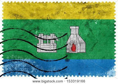 Flag Of Yekaterinburg, Sverdlovsk Oblast, Russia, Old Postage Stamp