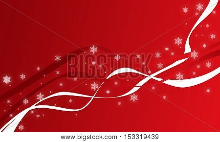 Red background with ribbon and glowing stars refer to Christmas and New Year concept, digitally created by computer software