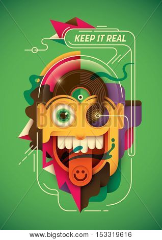 Modern style illustration with funny character. Vector illustration.