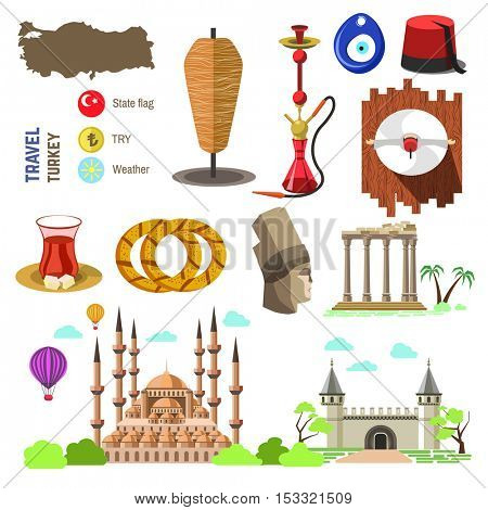 Set of country Turkey culture and traditional symbols. Collection icons: mosque and tower, hookah, tea, doner kebab and bagels. vector illustrations with Istanbul/Turkish famous landmarks.