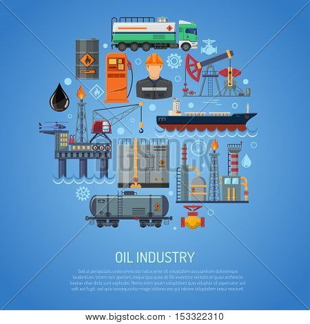 Oil industry Concept with Flat Icons extraction Refinery and transportation oil and petrol with oilman, rig and barrels. vector illustration.