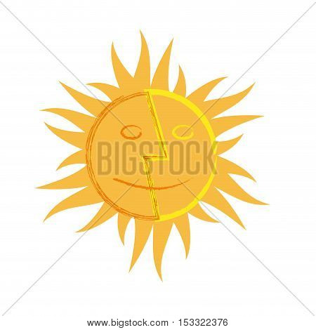 vector logo sun double faces, illustration isolated