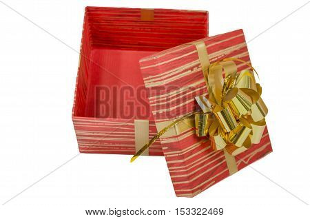 red square gift box with a lid and tape