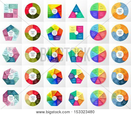 Vector circle infographic set. Business diagrams round arrows graphs puzzle presentations and charts. Data infographics with 3 4 5 6 7 8 options parts steps cycle processes.