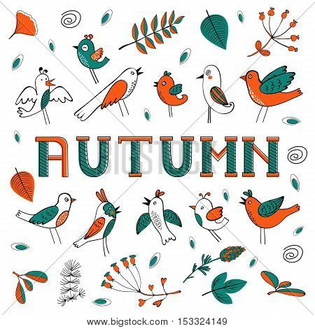 Autumn card with birds leaves and flowers. Illustration in vector format