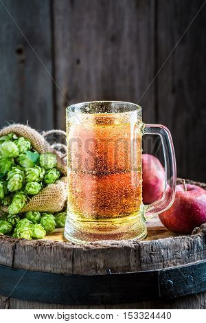 Cold Cider Beer With Apples, Wheat And Hops