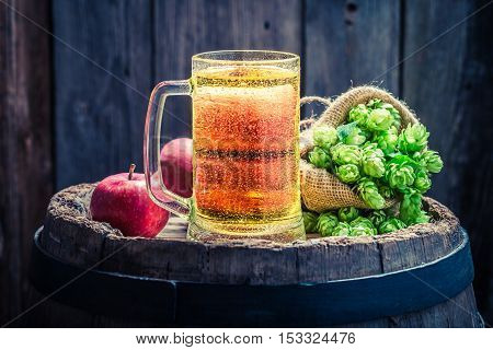 Cider Beer With Apples, Hops And Wheat