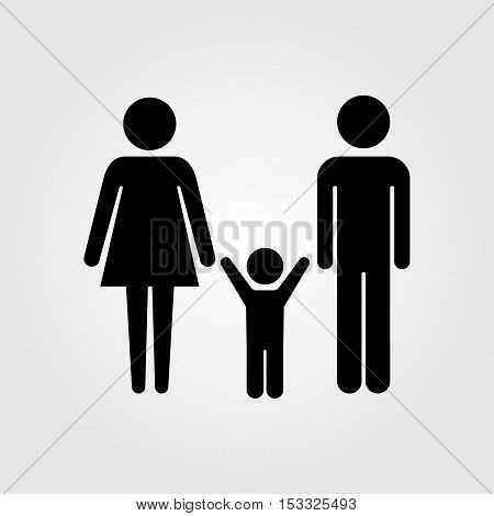 Family couple with baby boy vector icon