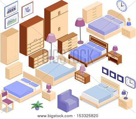 Set icons of furniture in isometric style. The collection includes beds bedside tables lamps wardrobes armchair chair clock and picture. Vector 3D illustration.