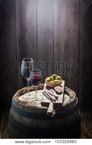 Red Wine With Cold Meats And Olives With Copy Space