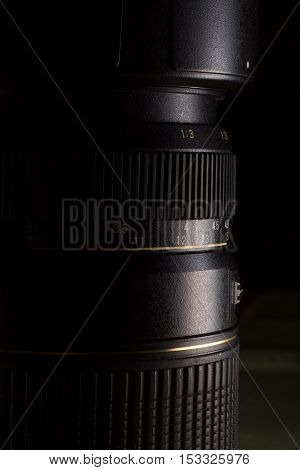 DSLR telephoto zoom lens close up with focus ring measures.