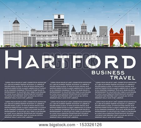 Hartford Skyline with Gray Buildings, Blue Sky and Copy Space. Vector Illustration. Business Travel and Tourism Concept with Historic Architecture. Image for Presentation Banner Placard and Web Site.