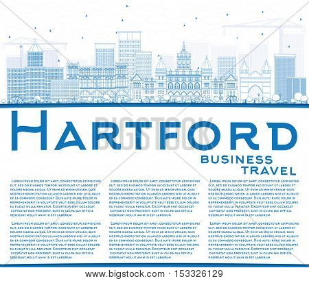Outline Hartford Skyline with Blue Buildings and Copy Space. Vector Illustration. Business Travel and Tourism Concept with Historic Architecture. Image for Presentation Banner Placard and Web Site.