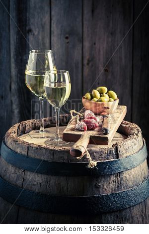 Tasty White Wine With Olives And Cold Cuts