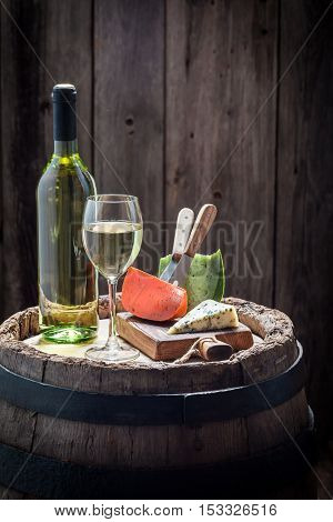 White Wine With Cheese In Color Of Italy