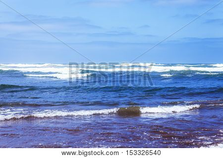 Waves on Atlantic ocean in sunny day. Casablanca. Morocco. Africa
