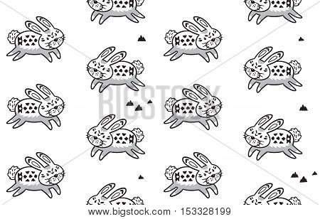Black and white background. Zentangle coloring book page. Vector illustration of hand drawn rabbits with indian ornaments. Seamless pattern for backgrounds, textile prints, wrapping, wallpapers