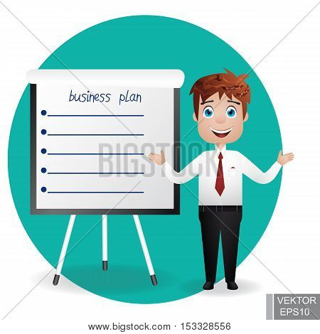 Businessman near the chart board. Indicates. Explains. Conducts Successful lecture guy. For your design.