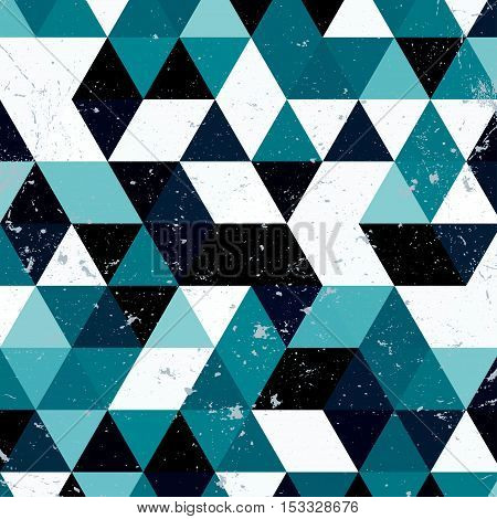 Vintage blue and white triangle pattern.Geometric hipster retro background with place for your text. Retro triangle background. Colorful-mosaic-banner