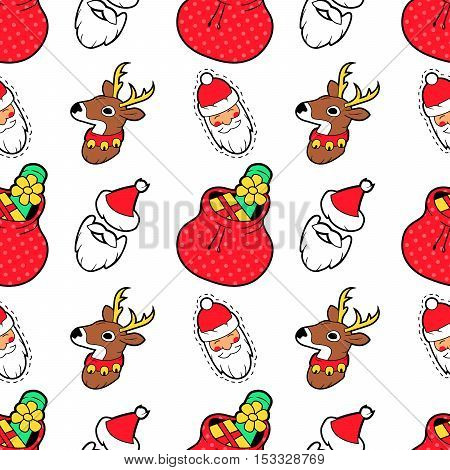 Merry Christmas and Happy New Year Seamless Pattern with Christmas Gifts Santa and Reindeer. Winter Holidays Wrapping Paper. Vector background