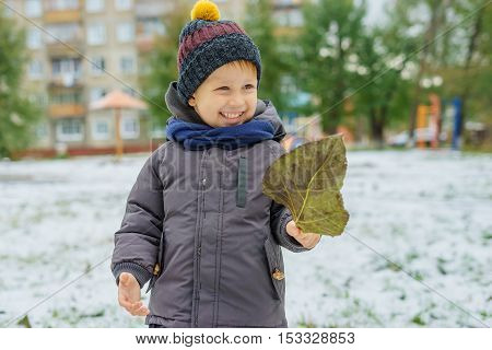 Boy holding a fallen cottonwood leaf autumn day and the first snow.