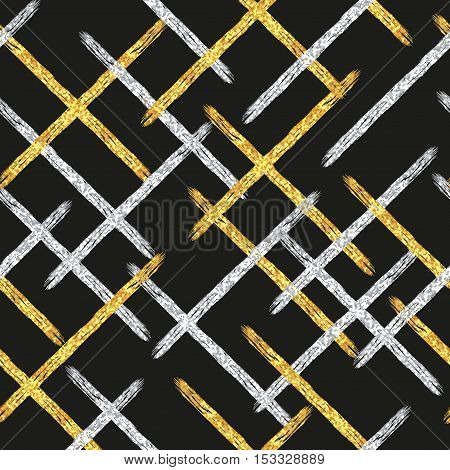 Golden and silver diagonal stripes background. Vector abstract seamless pattern for textile, wallpaper, web page wrapping paper.