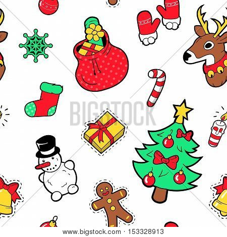 Merry Christmas and Happy New Year Seamless Pattern with Christmas Tree Gifts and Candies. Winter Holidays Wrapping Paper. Vector background