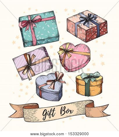 Collection of hand drawn graphic gift boxes with ribbons and bows. Christmas, New Year, Birthday, anniversary celebration present logo, icon, card