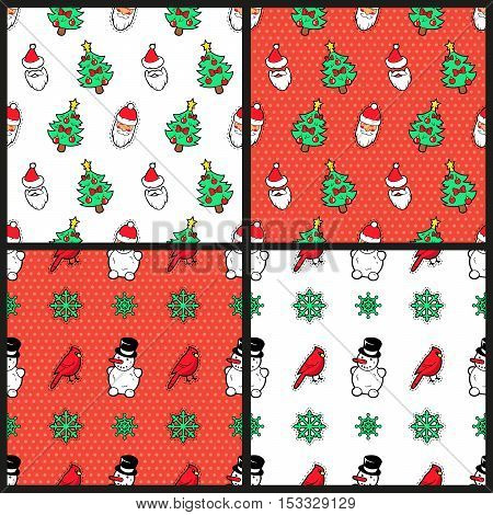 Merry Christmas and Happy New Year Seamless Pattern Set with Christmas Tree Snowman Birds and Santa Claus. Winter Holidays Wrapping Paper. Vector background