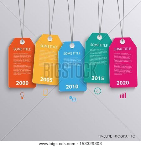 Time line info graphic with colorful hanging tags template vector eps 10
