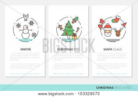 Merry Christmass Thin Line Vector Brochures with Winter Holidays Icons Santa Snowman and Christmas Tree