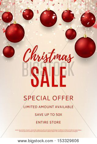 Christmas sale flyer template. Vector illustration with shining sparks for xmas design. Season discount banner with red balls and confetti. Merry Christmas and Happy New Year gift card.