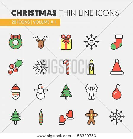 Christmas and Happy New Year 2017 Thin Line Vector Icons Set with Santa Claus Reindeer and Christmas Tree