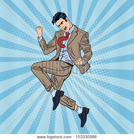 Pop Art Successful Businessman Jumping. Vector illustration