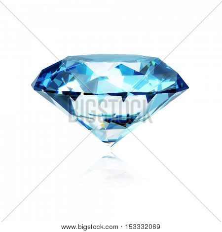Blue realistic diamond isolated on white background with reflection - 3d diamond illustration