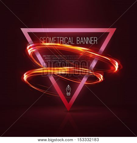 Geometrical banners with red neon lights . 3d triangle vector banner with fire blurry circles at motion . Light painting on banner .