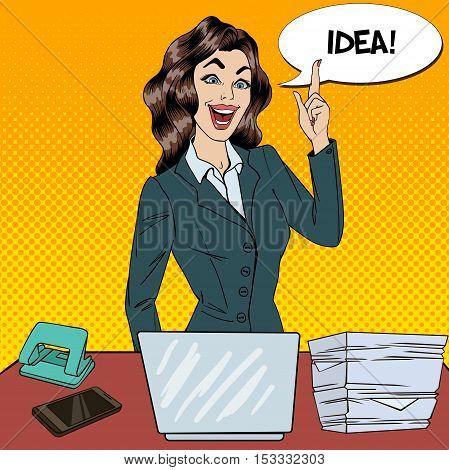 Pop Art Busy Business Woman Had an Idea at Multi Tasking Office Work. Vector illustration